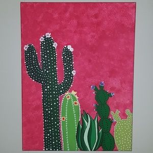 Hand painted canvas original cactus cacti art